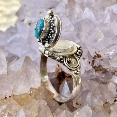 RR 13778 TQ-(HANDMADE 925 BALI STERLING SILVER POISON RING WITH TURQUOISE)